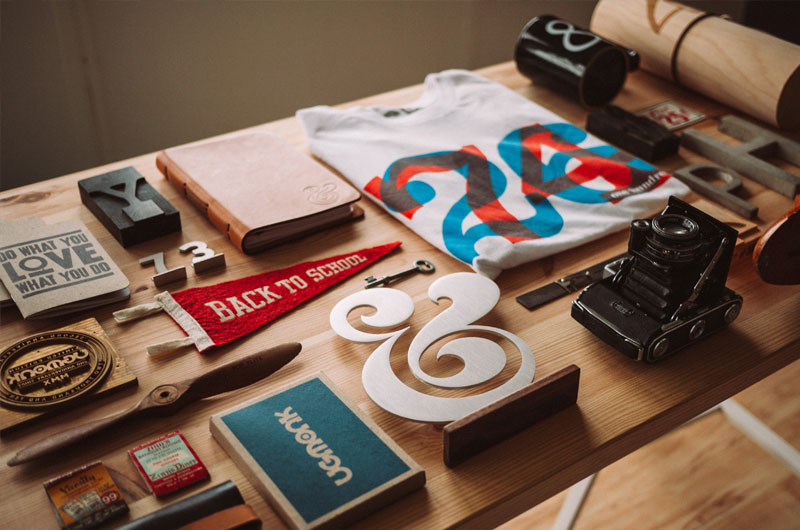 Printed products on a table